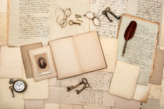 Open book, old letters and handwritings Royalty Free Stock Image