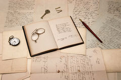 Open book, old letters and handwritings Royalty Free Stock Images