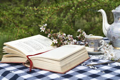 Open book and old tea set on the table Stock Photo