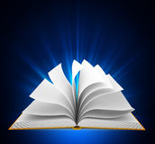Open book over blue background Royalty Free Stock Photography