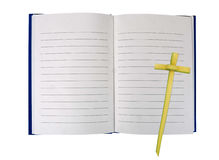Open book with palm leaf cross - spiritual journey, journal conc Stock Photos