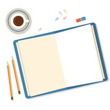 Open book, pencils and clips icolated on white background. Royalty Free Stock Photos