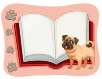 Open book and a pet dog Royalty Free Stock Images