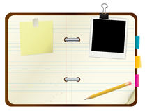 Open book with picture frame and post-its Stock Image