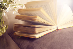 Open book on a pillow in bed. homeliness. old book. seamless texture of book pages. Vintage old books Royalty Free Stock Image