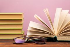 Open book on the pink  background. Image royalty free stock photos