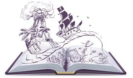 Open book about pirates and treasure. Ship sailboat pirate swims on waves. Treasure island Royalty Free Stock Photography