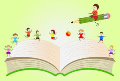 Open book with playing children and boy, flying on a pencil Stock Images