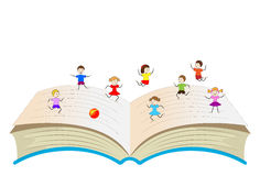Open book with playing children Stock Photography