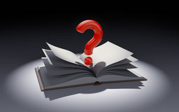 Open book with question mark in the spot of light Stock Photo