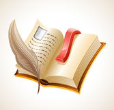 Open book and quill. Isolated on white background vector illustration