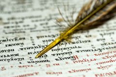 Open the book and quill closeup Stock Images
