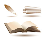 Open book, quill and scrolls. Icons on white stock illustration