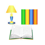 Open book, reading lamps and books Royalty Free Stock Image