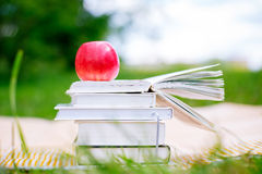 Open book with red apple Stock Photos