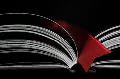 Open book with red bookmark Stock Photography