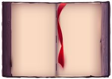 Open book with red bookmark. Old page template. Vector cartoon illustration stock illustration