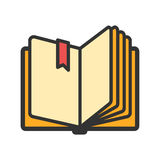 Open book with ribbon bookmark icon Royalty Free Stock Images