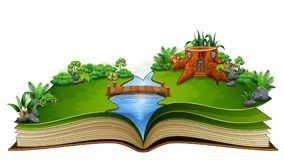 Open book with river and green plant of nature background. Illustration of Open book with river and green plant of nature background vector illustration