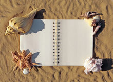 Open Book on the Sand With Seashells Adorning It royalty free stock photos