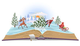 Open book about Santa and christmas tree. Vector stock illustration