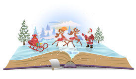 Open book Santa Claus with sledge and deers. Open book Santa Claus with sledge, deers and Christmas presents royalty free stock photo