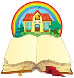 Open book and school building Stock Photography