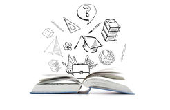 Open book and school doodles Royalty Free Stock Photography