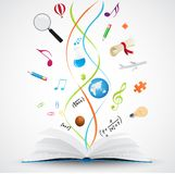 Open book with science icon vector illustration