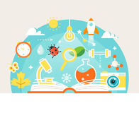 Open Book with Science and Nature Study Symbols. Education Concept. Vector Illustration Royalty Free Stock Photo