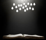 Open book with shining lamps Royalty Free Stock Photo