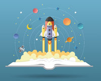 Open book with solar system, space shuttle, planets, stars, Eart Royalty Free Stock Photo