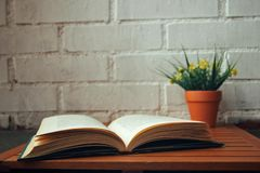 Open book with some flowers next to it. Open book with some flowers to the side on a white background stock photography
