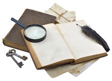 Detective diary. Open book with space for text and magnifier isolated stock photos