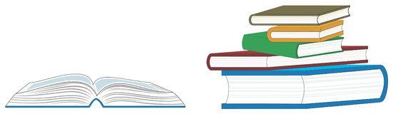 Open Book and a Stack of Books. A open book and a stack of books Stock Photo