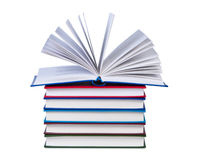Open book on stack of books. Open book on stack of books isolated Stock Photo