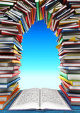 Open book and stack of books in the form of windows, doors, fram Stock Photography