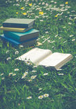 Open Book With Stack of Literary Classics In Grass Field of Summ. Open Book and Stack of Vintage Books In Meadow of Daisies and Buttercups Royalty Free Stock Images
