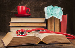 Open Book and Stethoscope Stock Photography