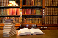 Open book in study or library Stock Photography