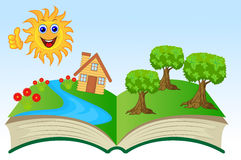 Open book with summer landscape Royalty Free Stock Photo