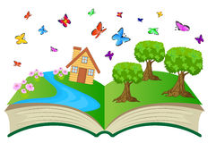 Open book with summer landscape royalty free illustration