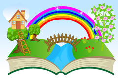 Open book with summer landscape. Vector illustration Royalty Free Stock Photo