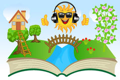 Open book with summer landscape Stock Image