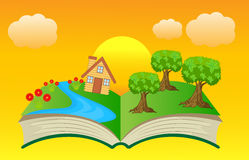 Open book with summer landscape Stock Photography