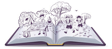 Open book. Summer rest. Scouts at camp. Cartoon illustration in vector format Royalty Free Stock Image