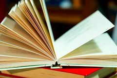 Open book on table. Back to school. Copy space Royalty Free Stock Photography