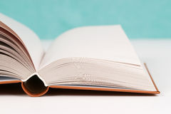 Open book on table. Back to school. Copy space. Top view Stock Image