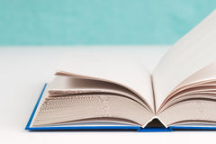Open book on table. Back to school. Copy space. Top view Stock Photos