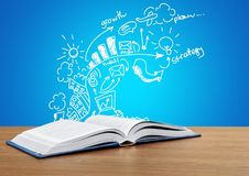 Open book on table,close up. Table open book background object nobody paper royalty free illustration